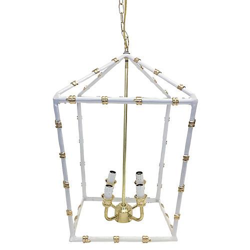 Bamboo-Style Large Lantern, White
