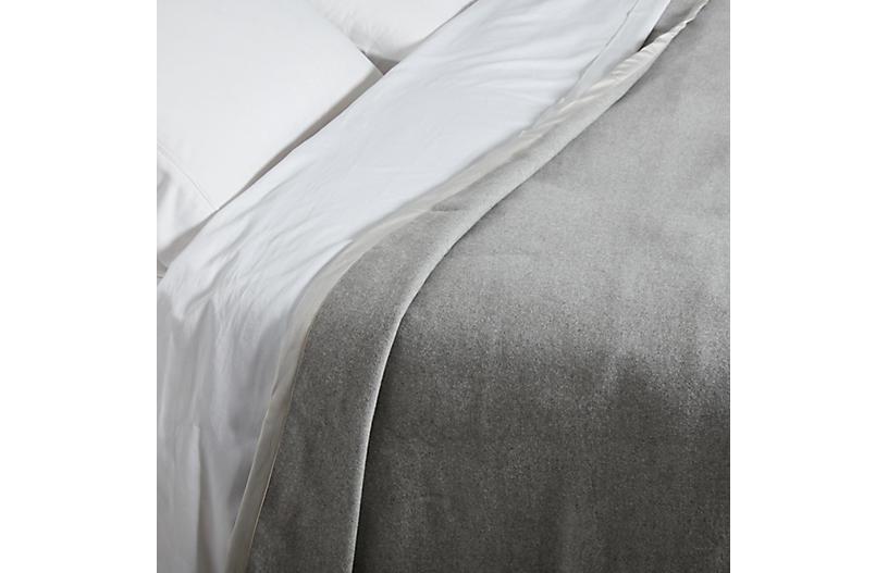 Heather Cotton Blanket, Gray