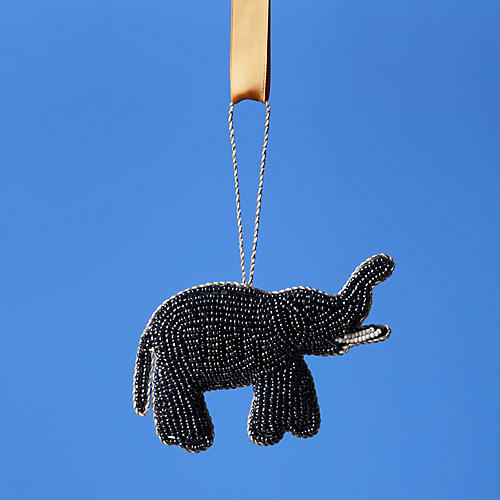 Elephant Ornament, Gray/Black