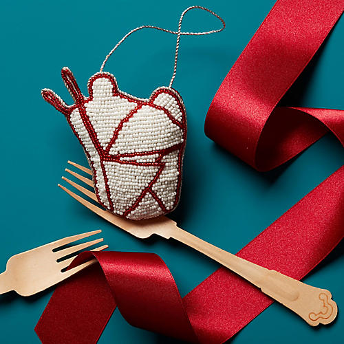 Chinese Takeout Ornament, White/Red