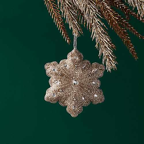 Beaded Snowflake Ornament, Silver