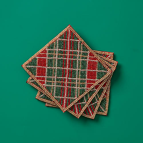 S/4 Tartan Plaid Coasters, Red/Green