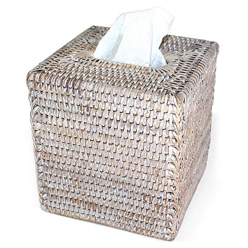 Jay Square Tissue Box, Whitewash