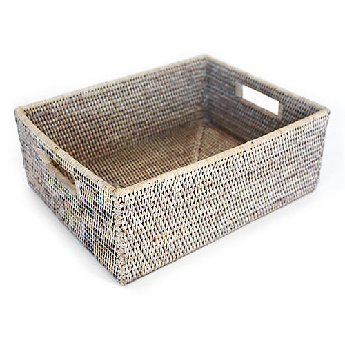 "16"" Clarke Everything Basket, Whitewash"