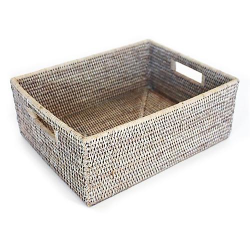 """16"""" Clarke Everything Basket, Whitewash"""