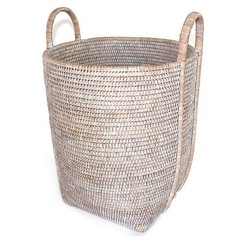 "17"" Ivy Laundry Basket w/ Loop Handles, Whitewash"