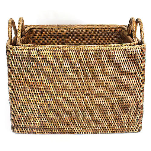 Asst. of 2 Lyn Baskets w/ Loop Handles, Brown
