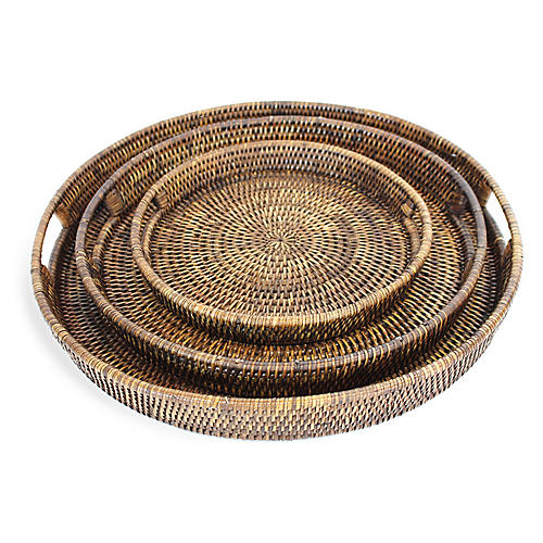 Asst. of 3 Galway Decorative Trays, Brown