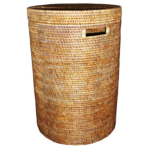 Abbey Round Laundry Basket, Brown
