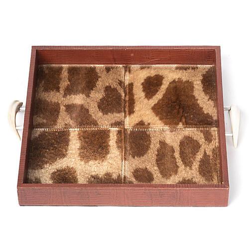"18"" Giraffe Hide & Tusk Decorative Tray, Brown"