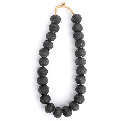 "15"" Ghanaian Glass Bead Strand, Black"