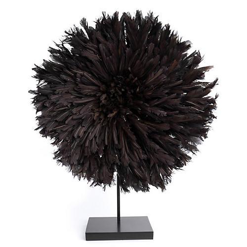 "26"" Juju Feather Hat w/ Stand, Black"