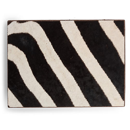 Zebra Hide Decorative Box, Brown/Multi