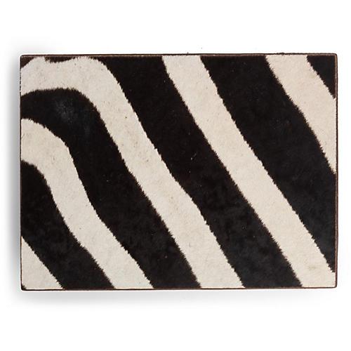 Zebra Hide Decorative Box, Brown/Multi