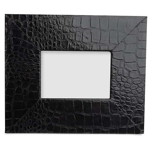5x7 Croc-Embossed Leather Frame, Black