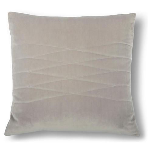 Alistaire 18x18 Quilted Pillow, Steel Velvet