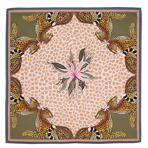 S/2 Leopard Lily Stone Napkins, Pink/Natural