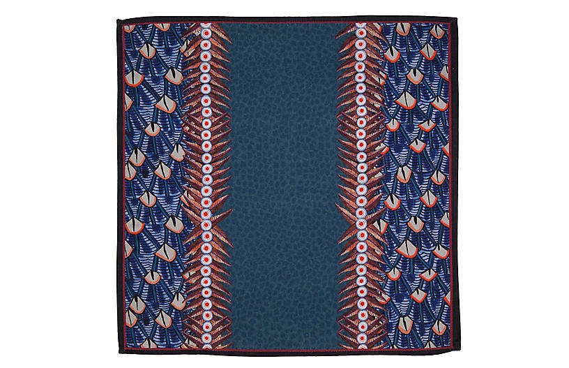 S/2 Feather Frost Napkins, Blue/Multi