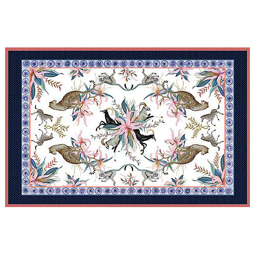Leopard Lily Frost Tablecloth, Blue/Multi
