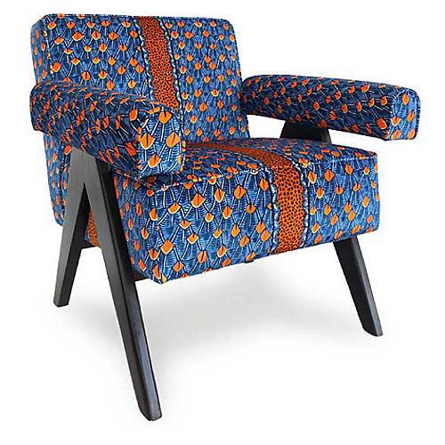 Zambezi Accent Chair, Blue Velvet