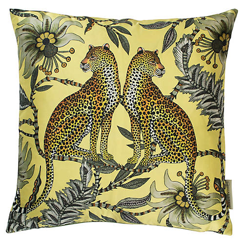 Leopard 16x16 Silk Pillow, Butter