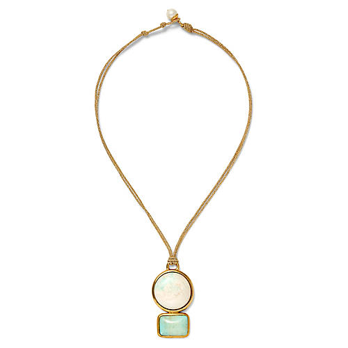 18-Kt Rectangular & Round Necklace, Turquoise