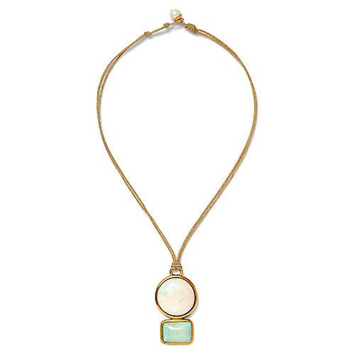 18-Kt Rectangular & Round Necklace, Turquoise