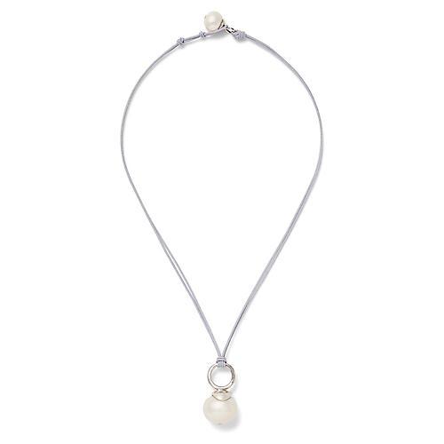 Pebble Pearl Pendant Necklace, Silver/White