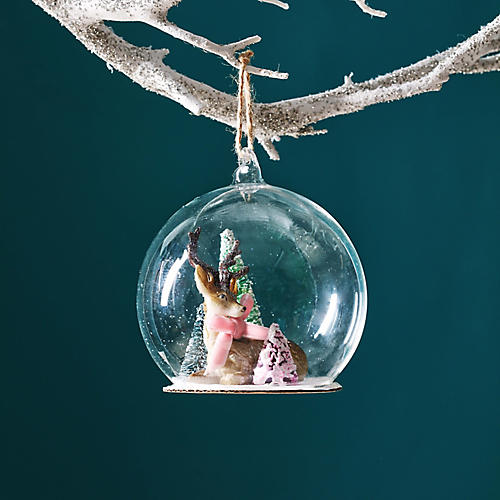 Enchanted Forest Globe Ornament, Silver/Multi