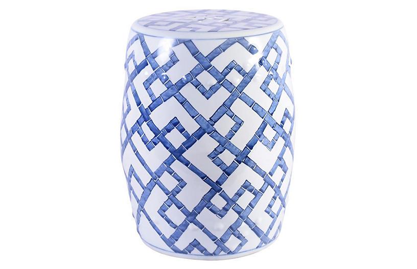 Chen Bamboo Garden Stool, Blue/White