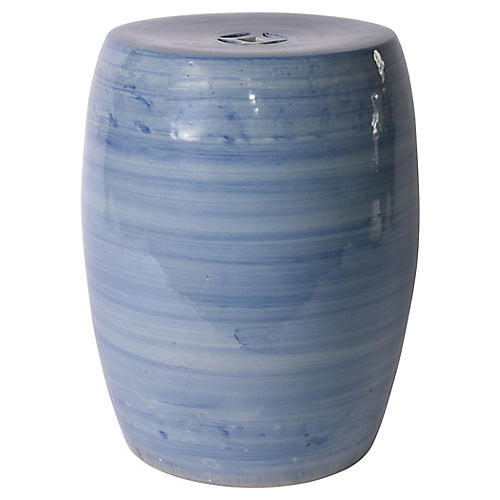 Denim Ombré Garden Stool, Blue