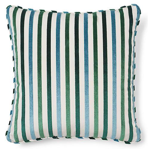 Le Matelot 20x20 Pillow, Peacock Stripe Velvet