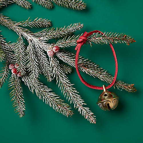 Single Bell Ornament, Red/Brass