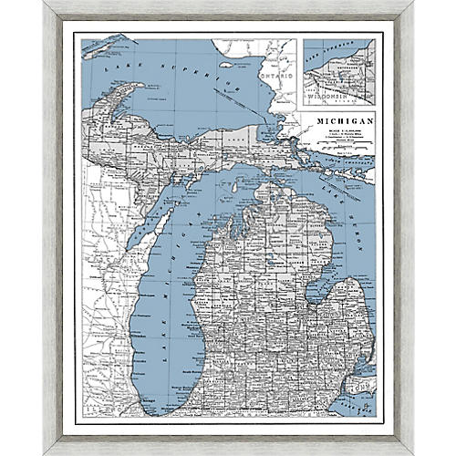 Heritage Map of Michigan , Silver