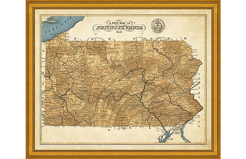 Vintage Map of Pennsylvania
