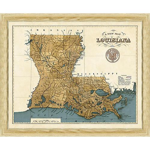 19th-Century Map of Louisiana , Natural