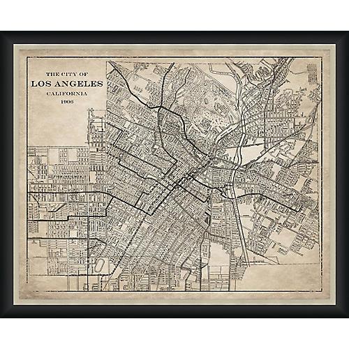 1906 Map of Los Angeles , Black