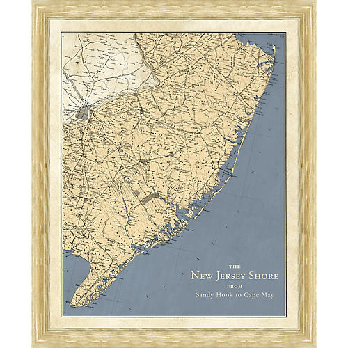 Vintage Map of the New Jersey Shore , Natural
