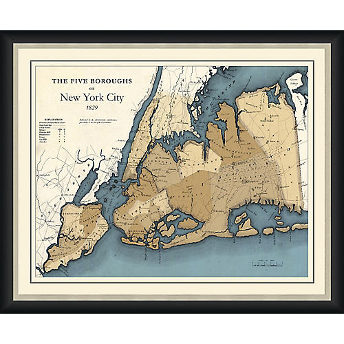 Map of New York's Five Boroughs, 1829 , Black