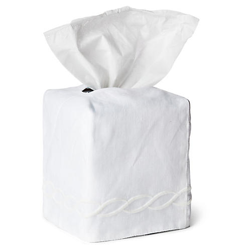 Classic Chain Tissue Box Cover, White