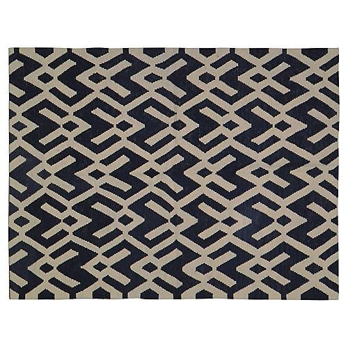 """4'2""""x5'5"""" Kholm Handwoven Rug, Black/Ivory"""