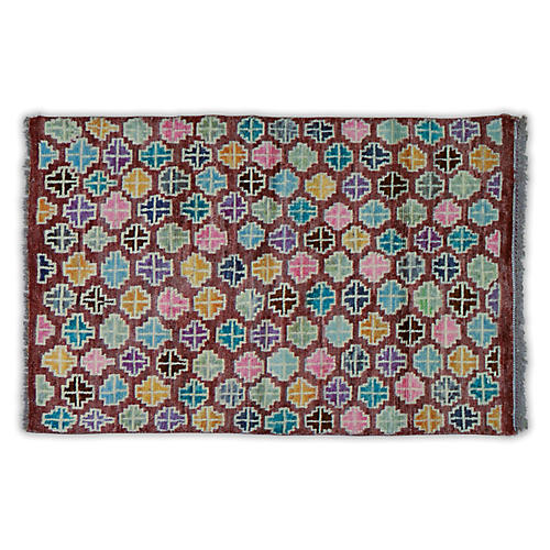 """3'x4'6"""" Agra Hand-Knotted Rug, Rust/Multi"""