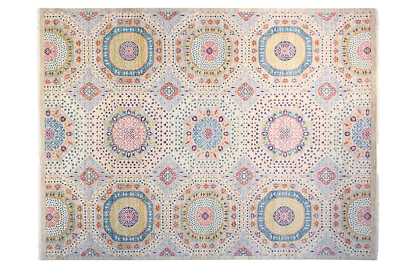 9'x12' Sari Mamluk Hand-Knotted Rug, Ivory/Multi