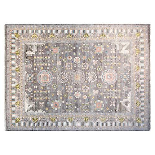 9'x12' Sari Khotan Hand-Knotted Rug, Gray/Coral