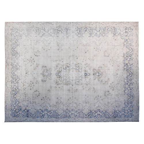 "9'6""x12'6"" Yigal Hand-Knotted Rug, Ivory/Blue"