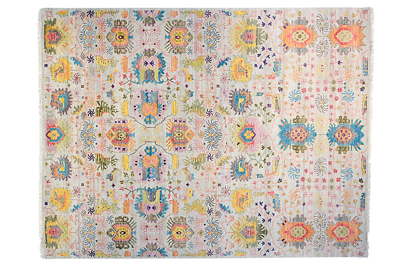 9'x12' Sari Liam Hand-Knotted Rug, Silver/Blue