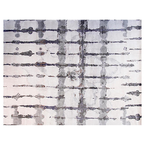 9'x12' Ocean Hand-Knotted Rug, White/Gray