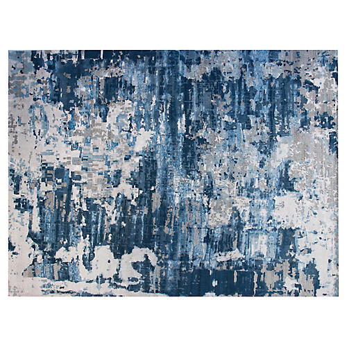9'x12' Bebe Hand-Knotted Rug, Gray/Teal