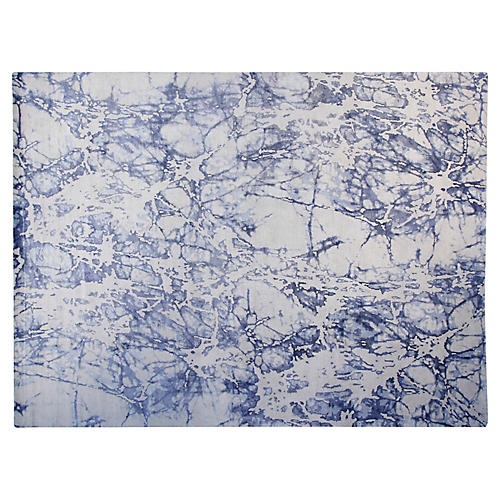 9'x12' Boga Hand-Knotted Rug, Gray/Blue