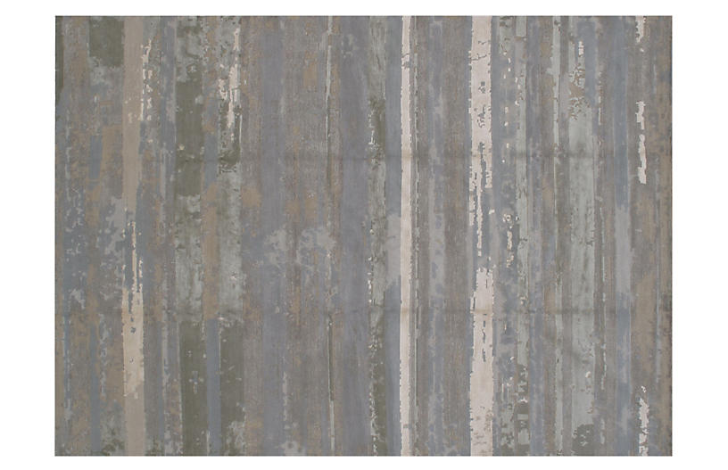 9'x12' Niafi Hand-Knotted Rug, Gray/Ivory